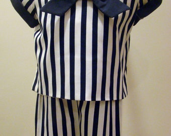 Boys Two - Piece Striped Sailor Suit with Suspender Shorts in Navy and White Stripe - Size 4