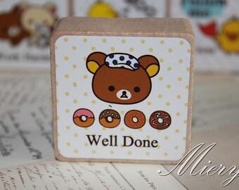 1 Piece Bear Stamp - Korean Rubber Stamp - Wood  Stamp - Cartoon - Well Done