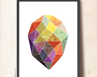 GEOMETRIC Art Poster, Gem Print A4, Jewel Wall Decor, Geometric print, Abstract imaginary Precious Stone. Blue, purple, yellow, mint