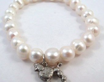 Freshwater Pearl Bracelet with a Pewter Poodle Charm - 5476