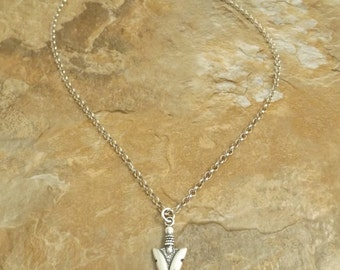 Sterling Silver Arrowhead Charm on a Silver Rolo Chain Necklace - 1069