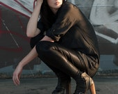 Faux leather leggings - metallic black spandex soft goth grunge, street style fashion for women - small murmuration