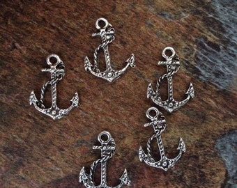15 Antique Silver anchor charms for bracelets, links for jewelry, pendants, link, antique silver pewter
