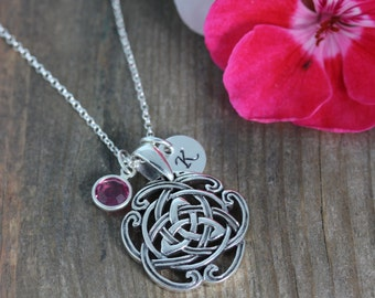 Celtic Triquetra Knot Necklace, Celtic sisters knot, sisters gift, Initial birthstone, Celtic Knots Necklace, Love never ending, 68