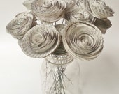 Paper Flower Bouquet - Newspaper Flower Bouquet - Handmade Rolled Paper Flower Bouquet for Brides, Weddings, Mother's Day