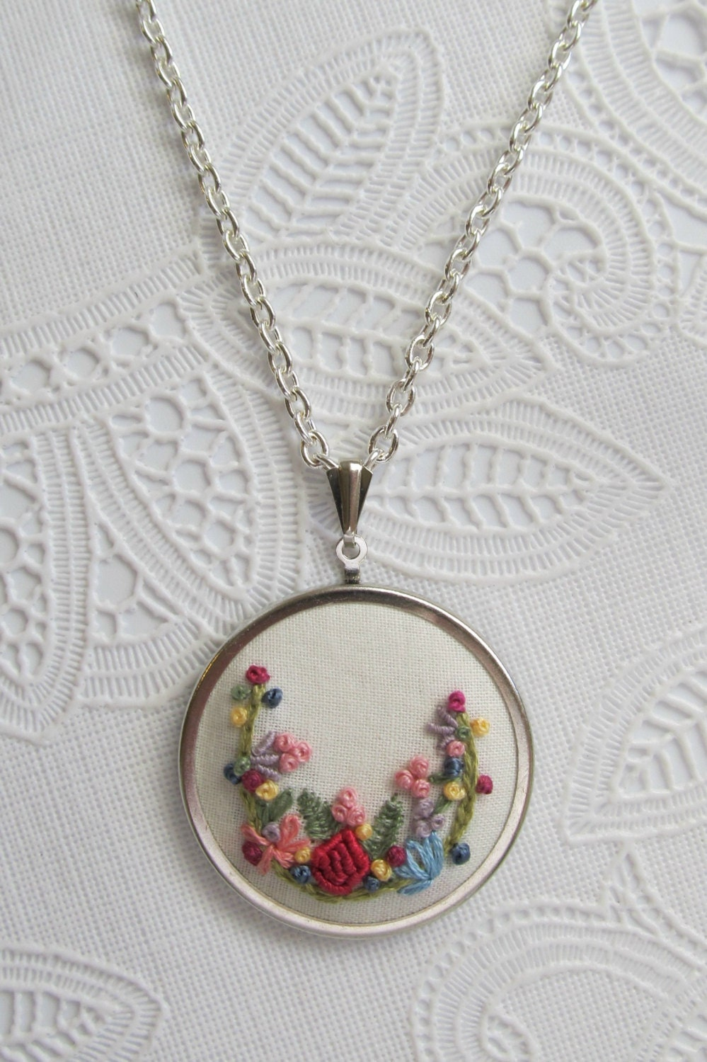 Hand embroidered fabric necklace garden french