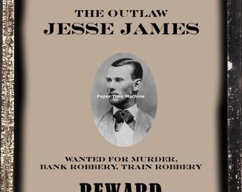 Jesse James WANTED Dead or Alive Poster Digitally Remastered Fine Art Print