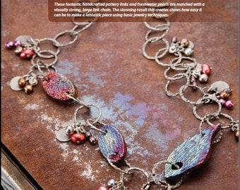 Tutorial Enchanted Forest Necklace, Raku Ceramic Links, Freshwater Pearls and Chain