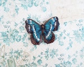 Handmade Butterfly Magnet - Blue, Brown, Black and White - Super Strong Magnet!
