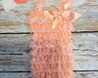 Peach petti romper, lace romper, lace petti romper, first pirthday outfit