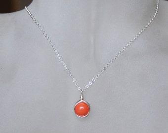 Orange Coral Necklace , Bridesmaid Necklace , Peach Coral Necklace , Swarovski Pearl Necklace