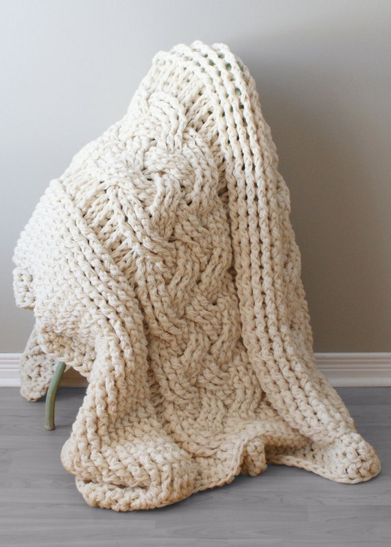 Crochet Patterns Chunky Yarn : DIY Crochet PATTERN - Throw Blanket / Rug Super Chunky Double Cable ...