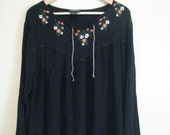 80s Black Embroidered Peasant Tunic