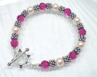 Crystal Bracelet Beaded Jewelry Swarovski Bracelet Crystal Pearl Bracelet Custom Jewelry
