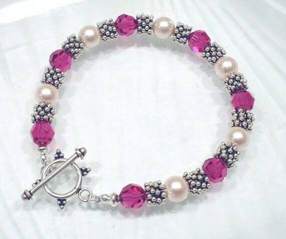 Crystal Bracelet Beaded Jewelry Swarovski Bracelet Crystal Pearl Bracelet Custom Jewelry