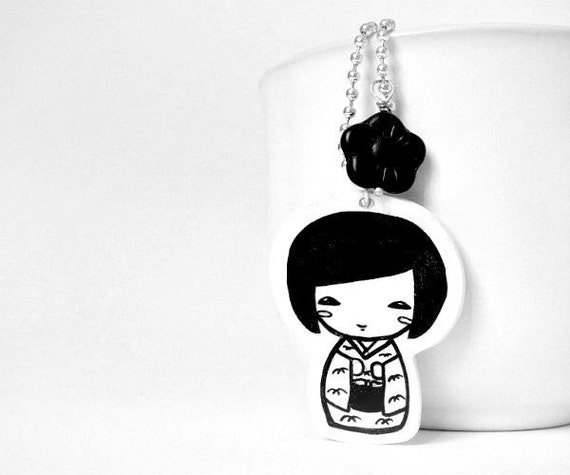 Kokeshi Doll Necklace - Pendent handrawn on shrink plastic - black and white