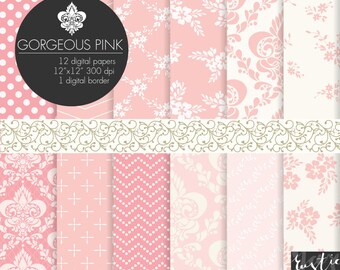 Pink digital paper with floral and damask patterns. Flowers, chevron, polka dot, damask in lovely pink color. Beige on white digital border.