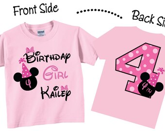 4th Birthday Shirts  Birthday Girl for Girls Pink and Party Hat Tees