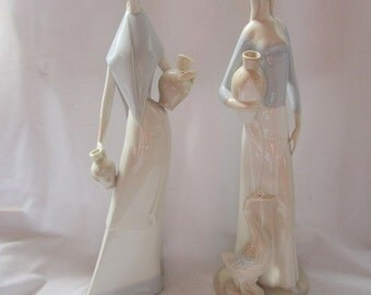2 Porceval Figurines Lady Girl with Jugs and Goose  13 inches Made in Spain lladro style