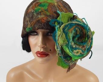 Felted Hat Cloche hat Flapper Hat Brown Hat Art Hat Art deco hat Rose Retro hats Felt wearable art Nunofelt Nuno felt la belle epoque