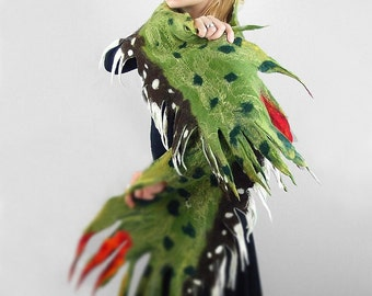 Felted Scarf Wings Scarf GREEN WINGS SCARF Shawl Nuno felt Scarves Felt  Wrap Nuno felt wearable art Silk  Fiber Art