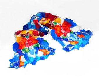 Felted Scarf Nunofelt Scarf Designer Scarf Multicolor Scarf Felt Wrap Wool Scarves ART DECO shawl Felt Nuno felt Silk Eco Fiber Art