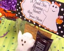 Halloween Treat Bag Topper-Printable Halloween Treat Bag Topper-Ghost Girl Treat Bag Topper-Printable Halloween Ghost Treat Topper-Halloween