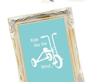 "Blue ""Ride like the wind"" Bike Nursery decor, baby nursery art. Nursery Wall art, silhouette - typographic print, 5x7' PDF"