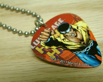 Luke Cage Guitar Pick Necklace with Stainless Steel Ball Chain - Marvel Comics