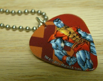 Colossus Guitar Pick Necklace with Stainless Steel Ball Chain - Marvel Comics X Men