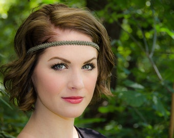 Olive Boho Forehead Headband - Solid Collection
