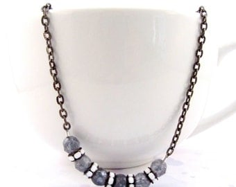 Czech Bead Gun Metal Chain Necklace, Black White and Gray