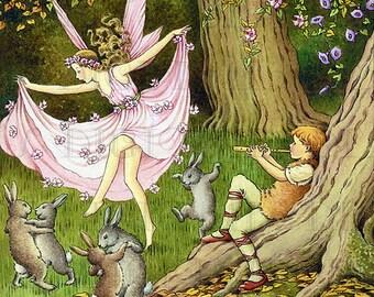 Ballroom DANCING With The BUNNIES! Storybook Vintage Illustration. Fairies and Rabbits Vintage Digital Download. Digital Fairy Print.