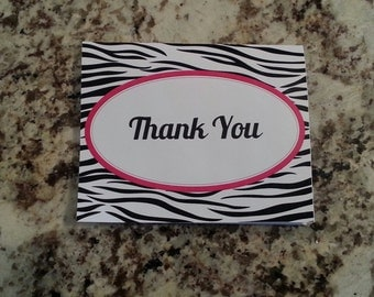 Printable Zebra Print Thank you Cards
