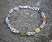 Chakra sterling silver bracelet, chainmaille, silversmithing, metalsmithing, handmade elegant gemstone jewelry - zen energy, pagan, rainbow