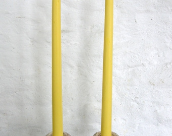 """Pair Beeswax 12"""" Cream Taper Candles Hand Crafted By The Beekeeper"""
