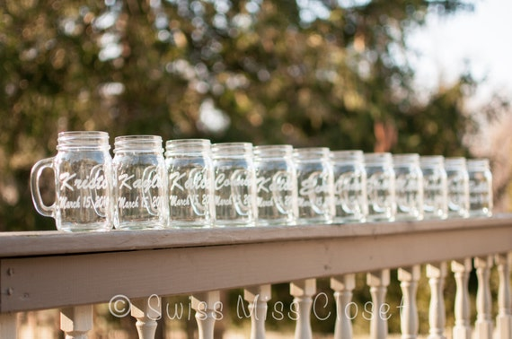 Set of 12 Wedding Party Custom Etched Glasses Pick your Font