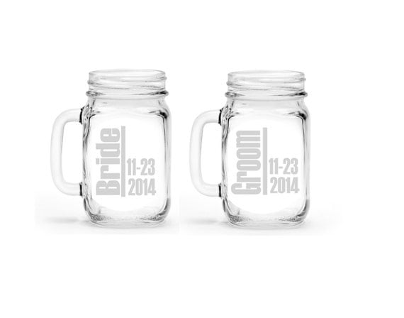 Set of 2 Bride and Groom Custom Etched Handled Mason Jar To Go Cups 16oz Eco Friendly