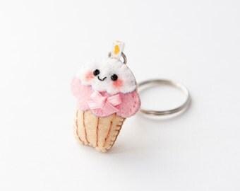 Kawaii Amigurumi Cupcake Keychain : Smiling Totoro Felt Plushie Keychain