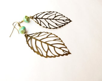Leaf Earrings, Turquoise and Brass, Large Lightweight Dangle Earring, Bohemian Jewelry, Beadwork
