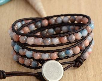 Beach chic bracelet. Beaded bohemian leather wrap bracelet