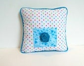 Polka Dot Tooth Fairy Pillow, Turquoise  Pillow , Girls Polka Dot Room Decor,  Personalized Pillow , Doll Accessory