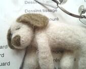 Needle Felt Dog, OOAK Dog, Felt Sleeping Dog, Beige Dog - BearVillage