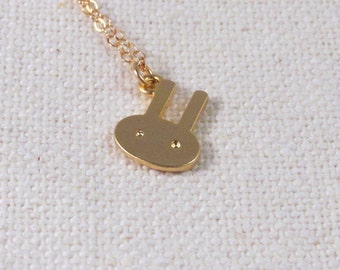 Gold Rabbit Necklace, Cute Tiny Bunny  Dainty 14k Gold Fill Necklace Modern Jewelry