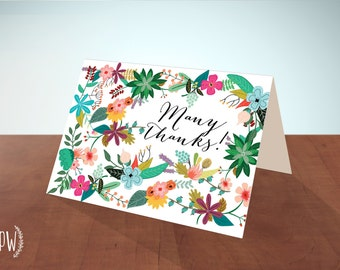 INSTANT DOWNLOAD Printable stationery thank you note cards, floral flowers bridal shower thank you notes wedding notecards - diy digital PDF