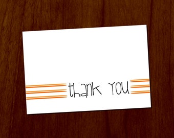 Orange Lines 4x6 Printable Thank You Card