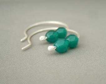 Sea Green Czech Glass and Sterling Silver Hoop Simple Elegant Earrings