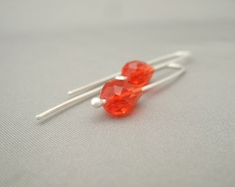 Orange Pear Earrings - Brilliant Orange Czech Glass Pear Drop and Sterling Silver Earrings