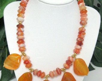 Faceted Agate Necklace with Large Agate Focal Drops - Agate Statement Necklace - Agate Necklace