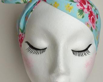 Rockabilly Pin Up Aqua Blue Rose Floral Print Dolly Bow Wire Headband